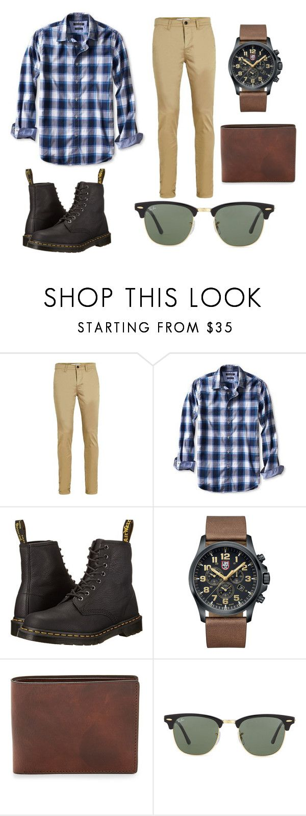 """Smart casual."" by lukecneal ❤ liked on Polyvore featuring Topman, Banana Republic, Dr. Martens, Luminox, Ray-Ban, men's fashion and menswear"