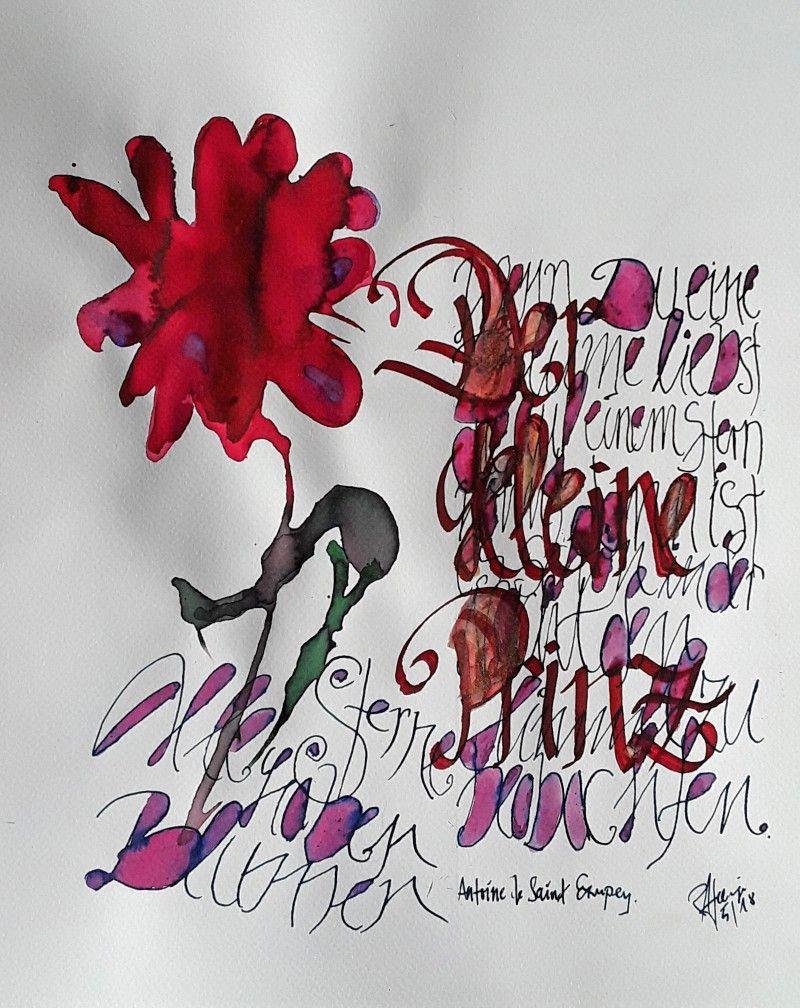 Roman Hollinger Kalligrafien.Antoine de Saint Exupery