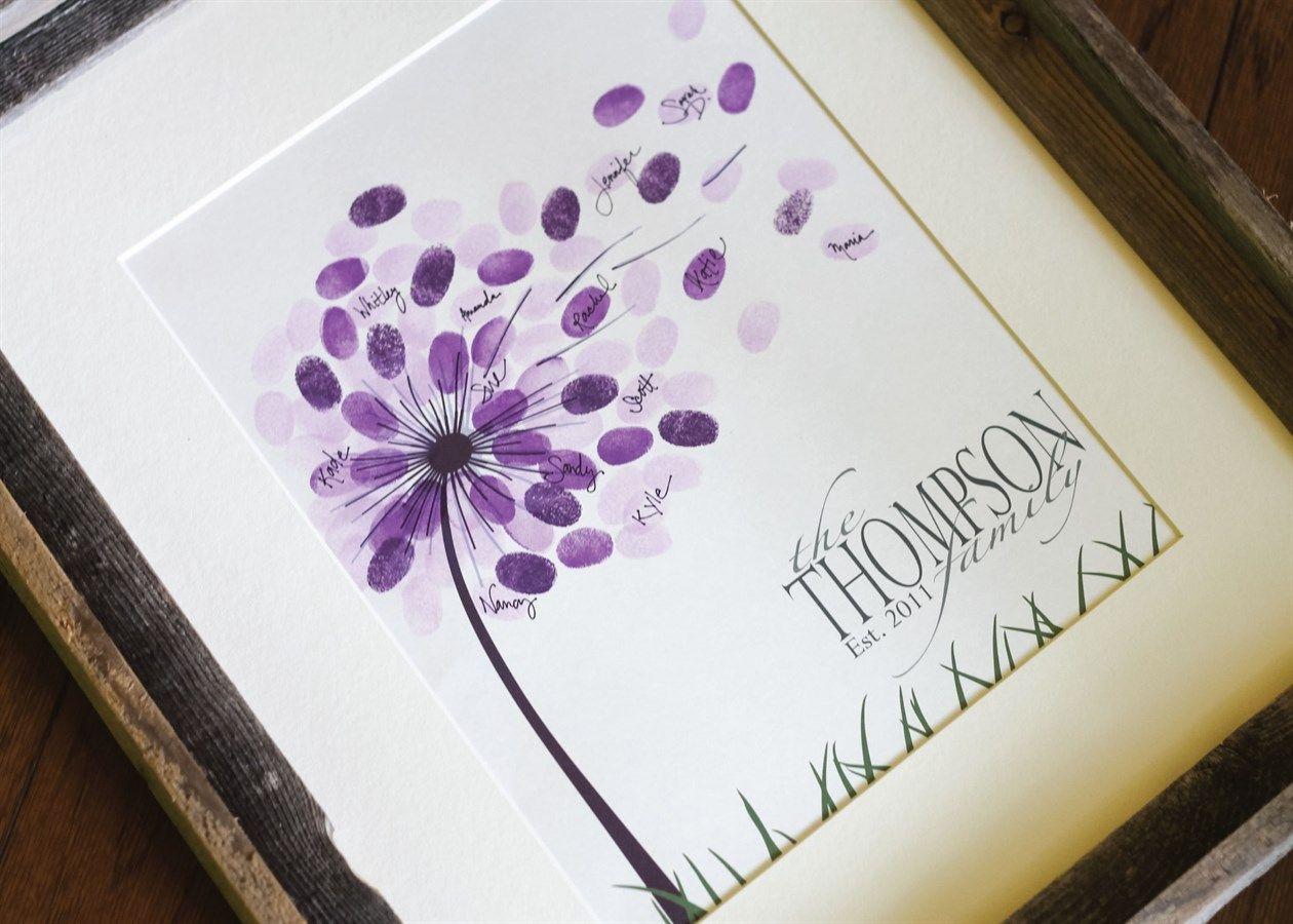 Dandelion Fingerprint Art Print | Fingerprint art ...