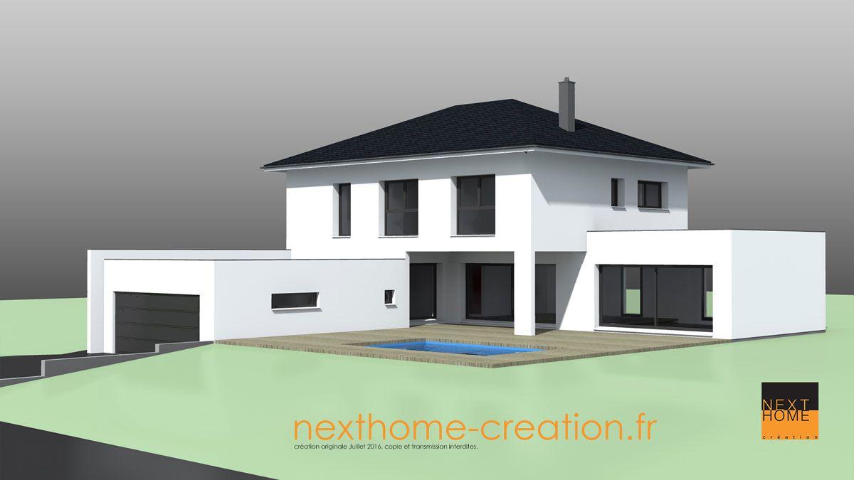 Maison Avec Toit 4 Pans Et Garage Accole Toit Plat Nexthome Creation Maison Contemporaine Modele Maison Moderne Maison