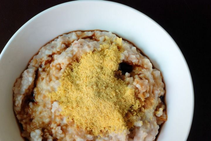 Oatmeal, soy sauce and nutritional yeast...I've tried it, and ya can't knock it 'til you do too.