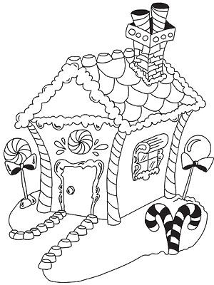 Printable Christmas Coloring Pages  Coloring Gingerbread houses