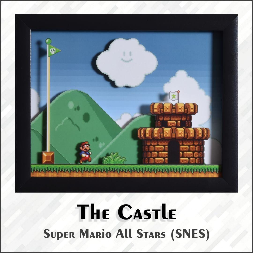 Super Mario All Stars Shadowbox The Castle Snes Etsy In 2020 Super Mario All Stars Mario All Stars Shadow Box