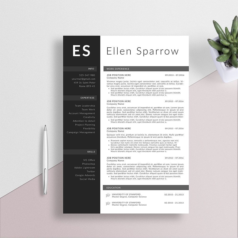 NEW DESIGN! Professional Resume Template + Cover Letter for Word ...