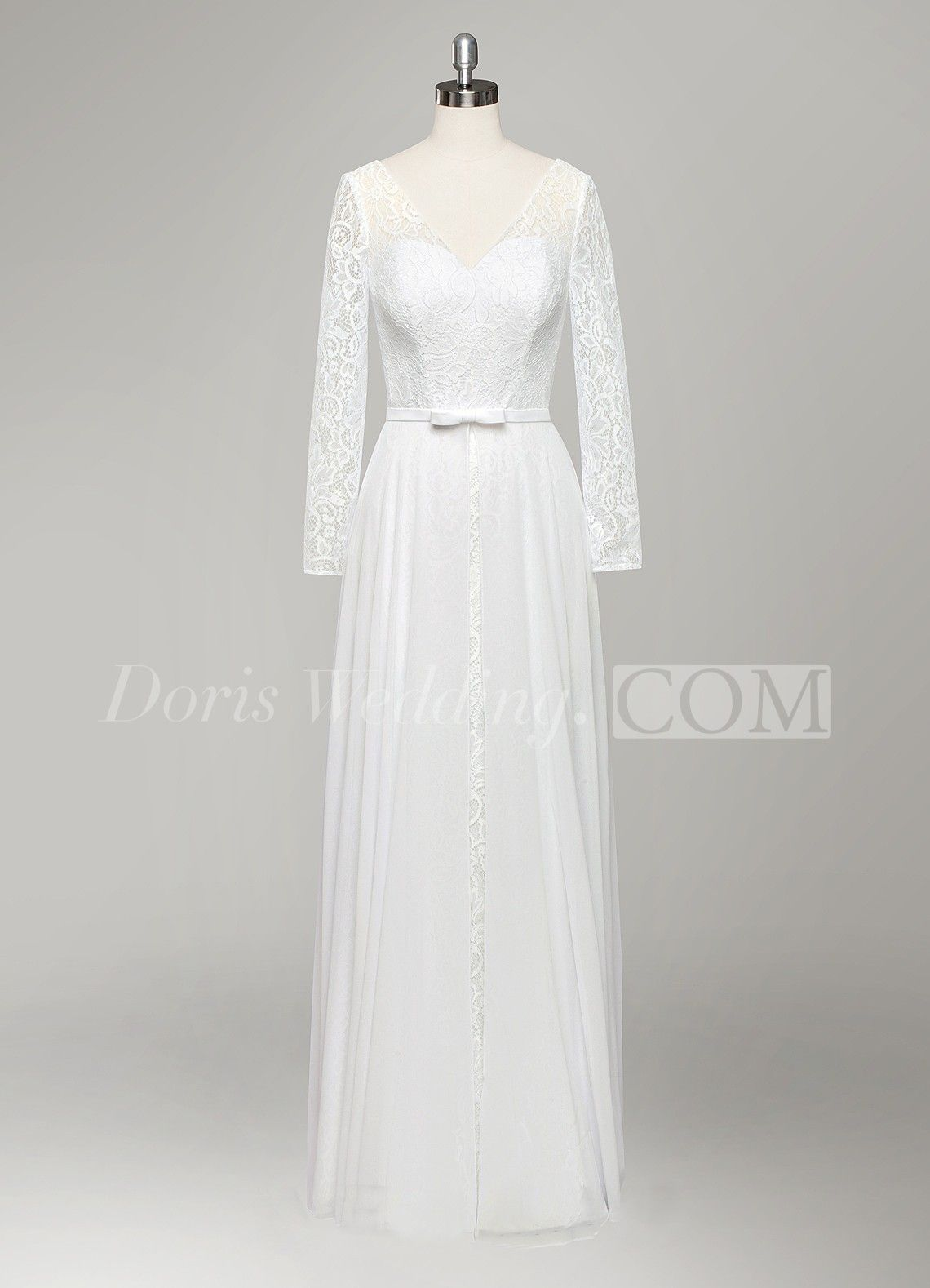 Vneck long sleeve aline lace and chiffon wedding dress with pleats
