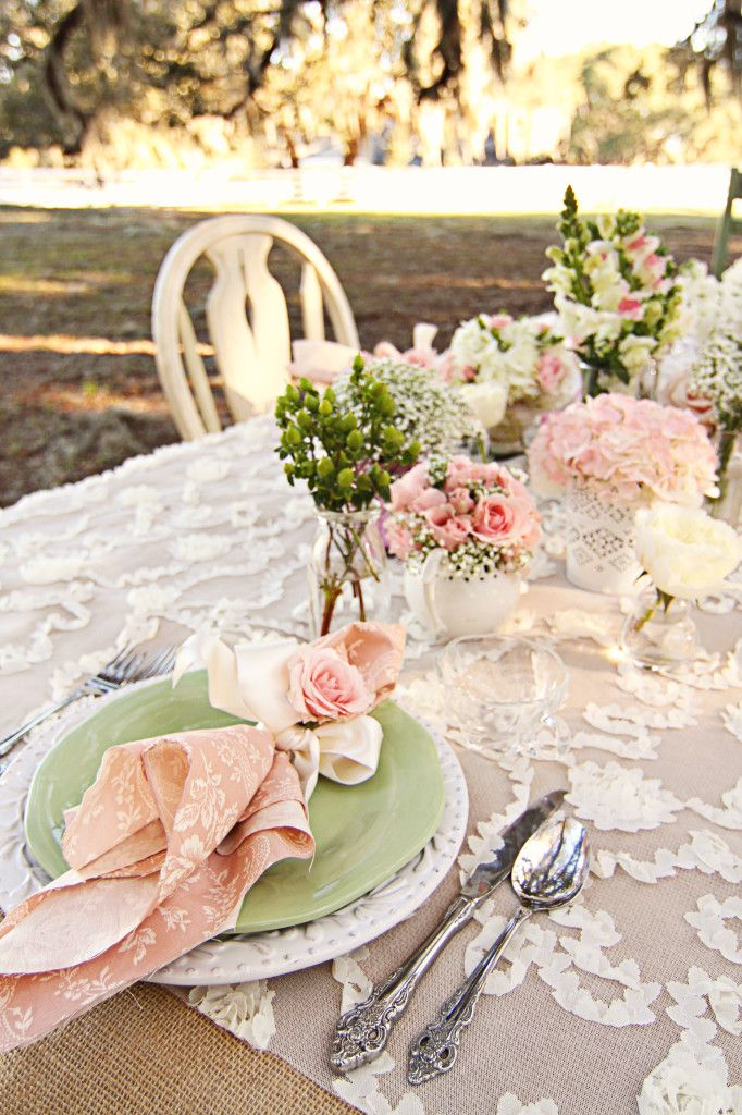 shabby chic floral table setting charm school themed
