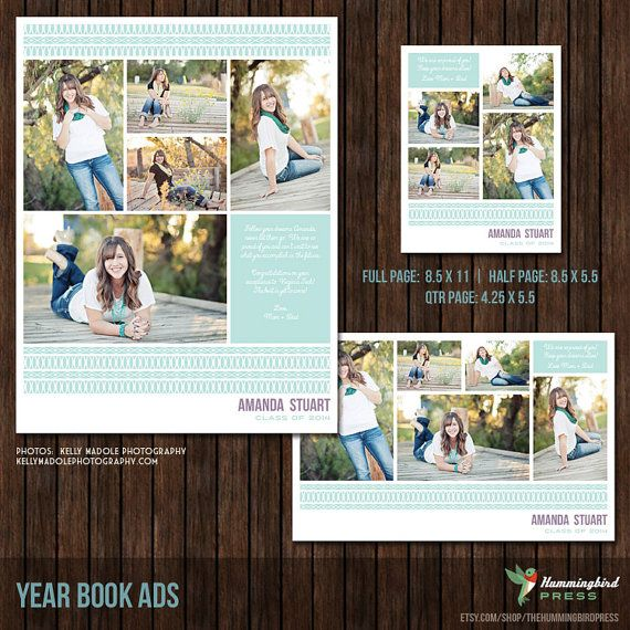 Graduation Yearbook Ad Templates, Senior Ad, High School, Middle - half sheet template