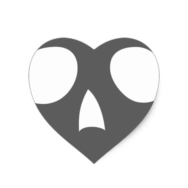 Scary skull heart sticker halloween holiday creepyhollow stickers
