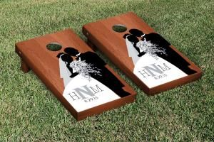 Rosewood Stained Bride & Groom Wedding Cornhole Game Set