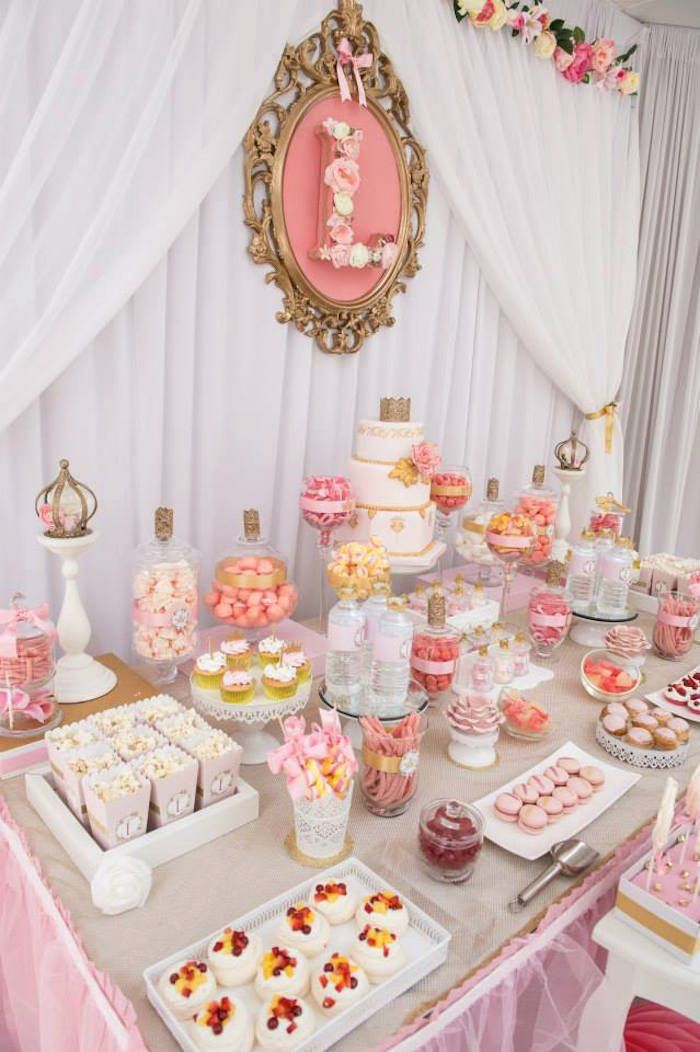 Pink Gold Princess Birthday Party Baby Shower Dessert Table