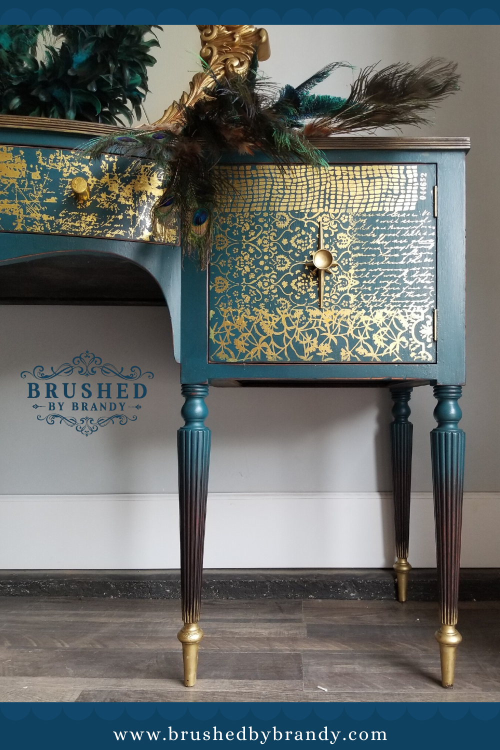 Stunning Teal And Gold Buffet Open Shelving On Each Side Hidden Drawer Inside Brushed In 2020 Gold Painted Furniture Custom Painted Furniture Teal Painted Furniture