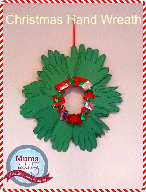 christmas craft hand wreath guest post from mums take five