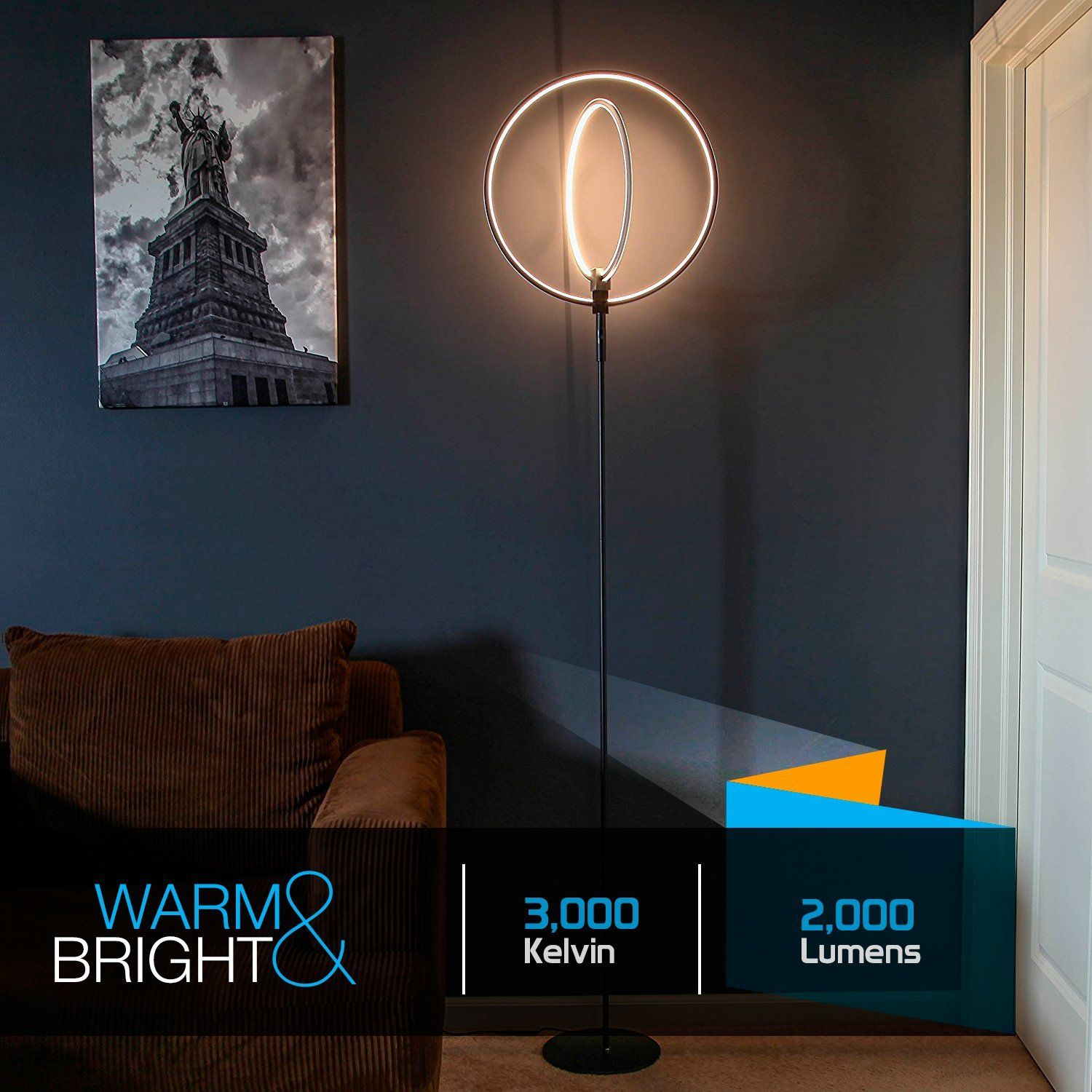 Brightech Eclipse Led Floor Lamp Rings Of Light Bring Sci Fi Ambiance To Contemporary Spaces 28 Watts Dimmable Brigh Indoor Lamp Lamps Living Room Lamp