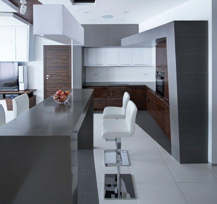 Cocina con barra estilo minimalista my new line cuisine for Cocinas minimalistas