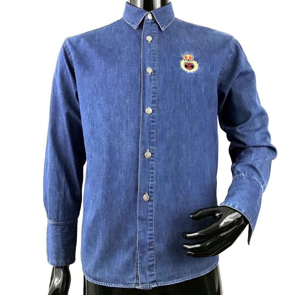 d0f1227c90 Vintage 90s Guess Mens Medium Long Sleeve Button Front Denim Shirt ...