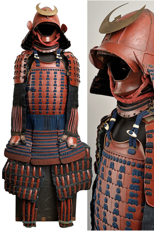 A Beautiful Red Lacquer Armor With Kabuto And Menpo Provenance Japan Dating 18th Century Samurai Armor Chinese Armor Historical Armor