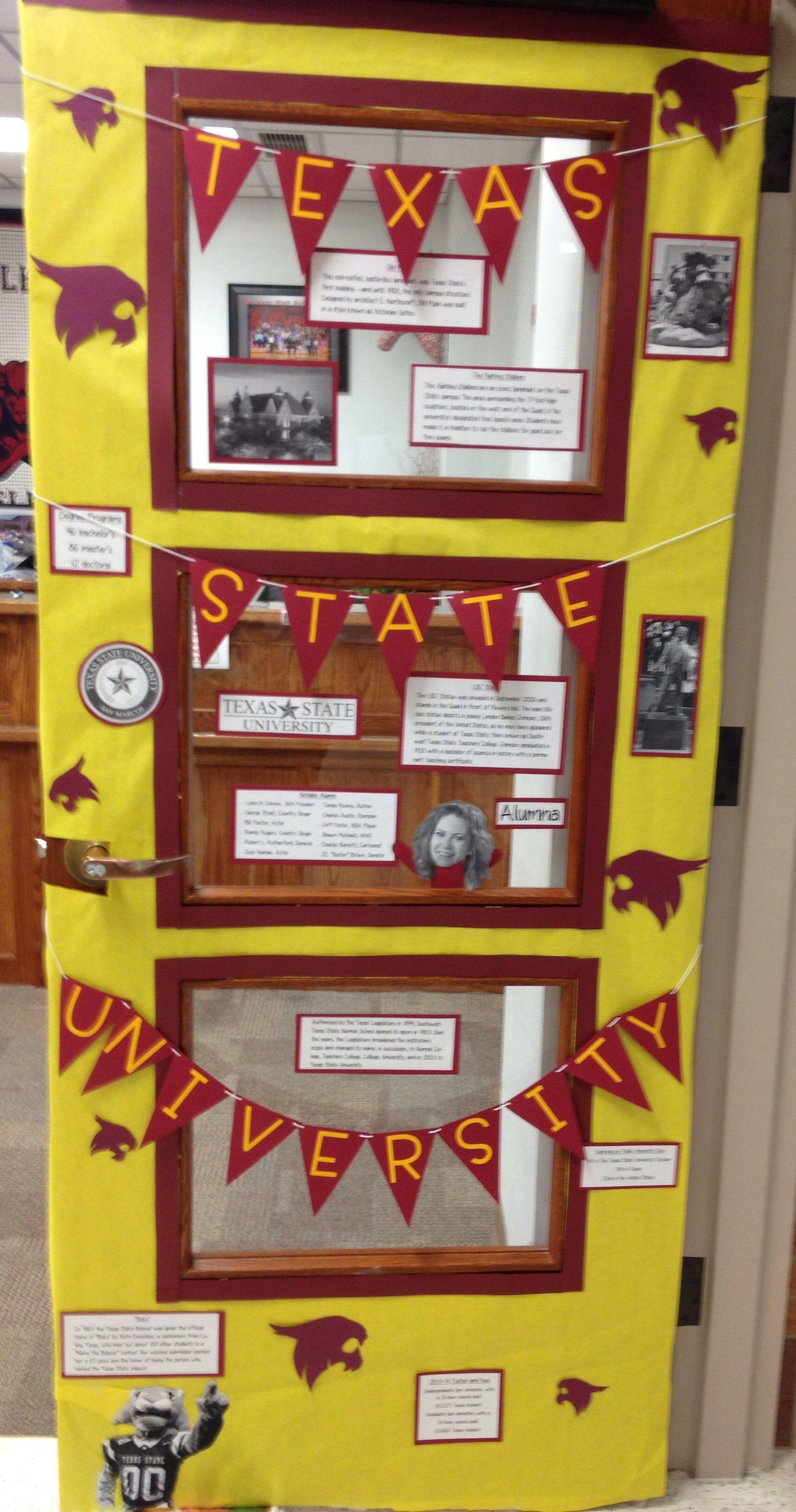 Texas State University door decoration. This week