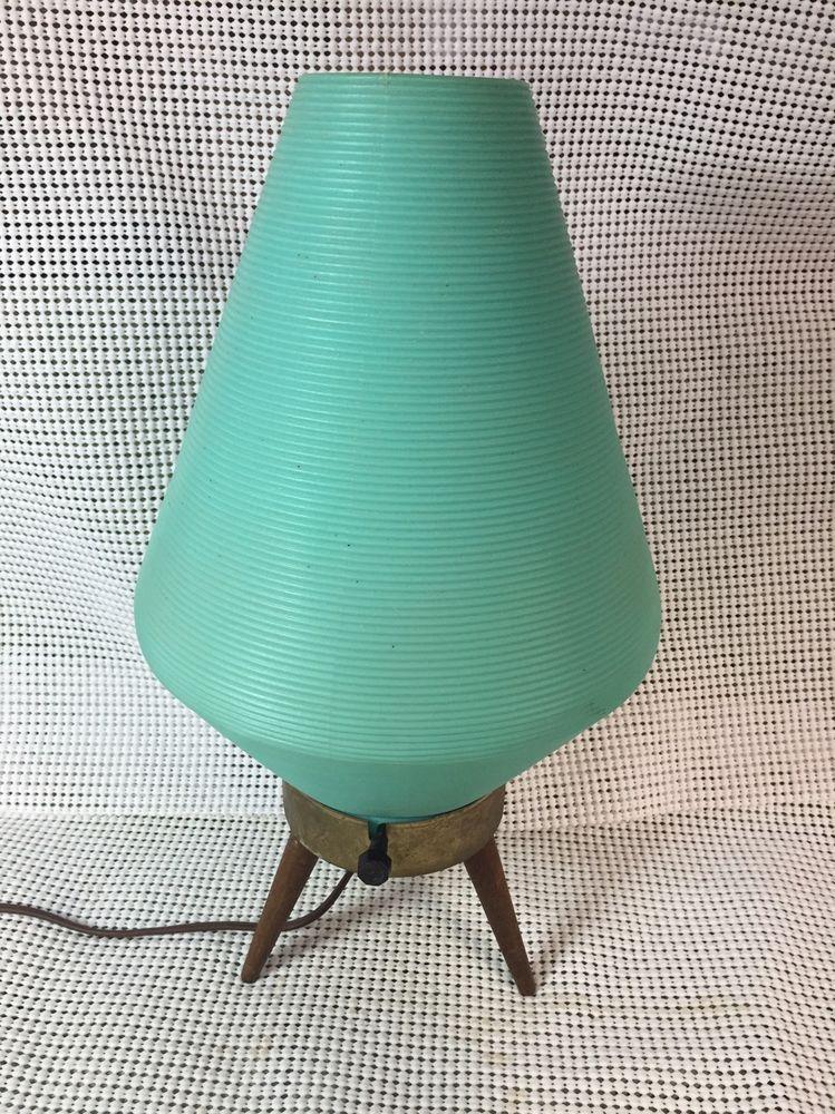 Rare Eames Aqua Atomic Beehive Lamp W Plastic Shade Danish Wood