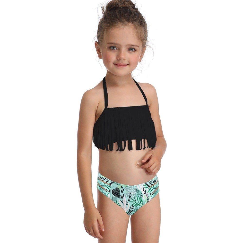 Baby Girl Swimwear Pink Tassel Sling Flowers Shorts Halter Swimsuit Bathing Suit
