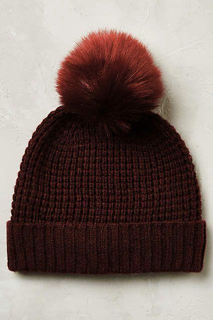 Anthropologie EU Yukon Faux Fur Beanie. This classic beanie pairs a chunky  weave with a playful pom-pom 772cc0e2454