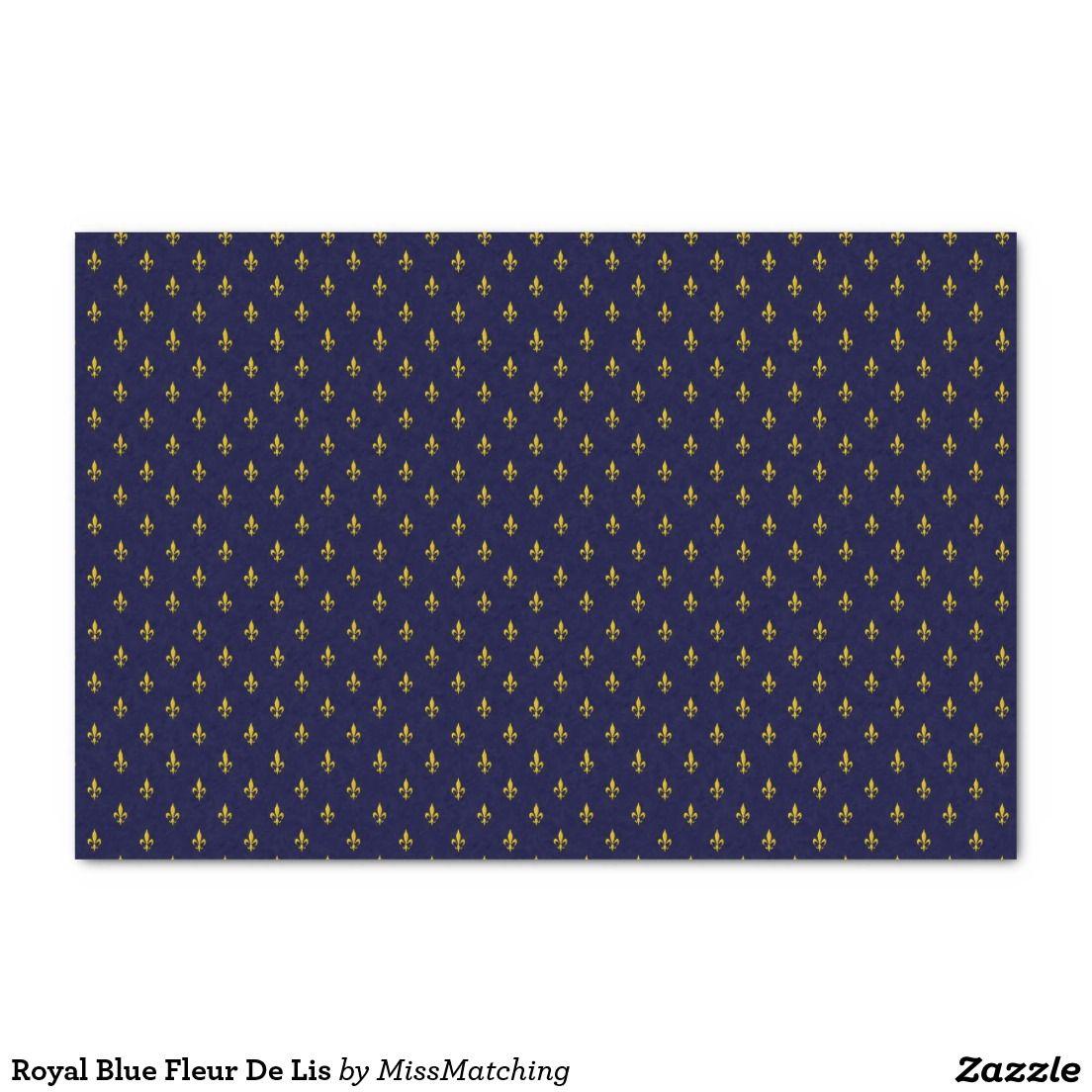 Royal Blue Fleur De Lis Tissue Paper Royal