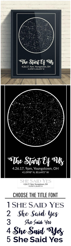 Night Sky Print Star Map Poster Custom Constellation Art Star