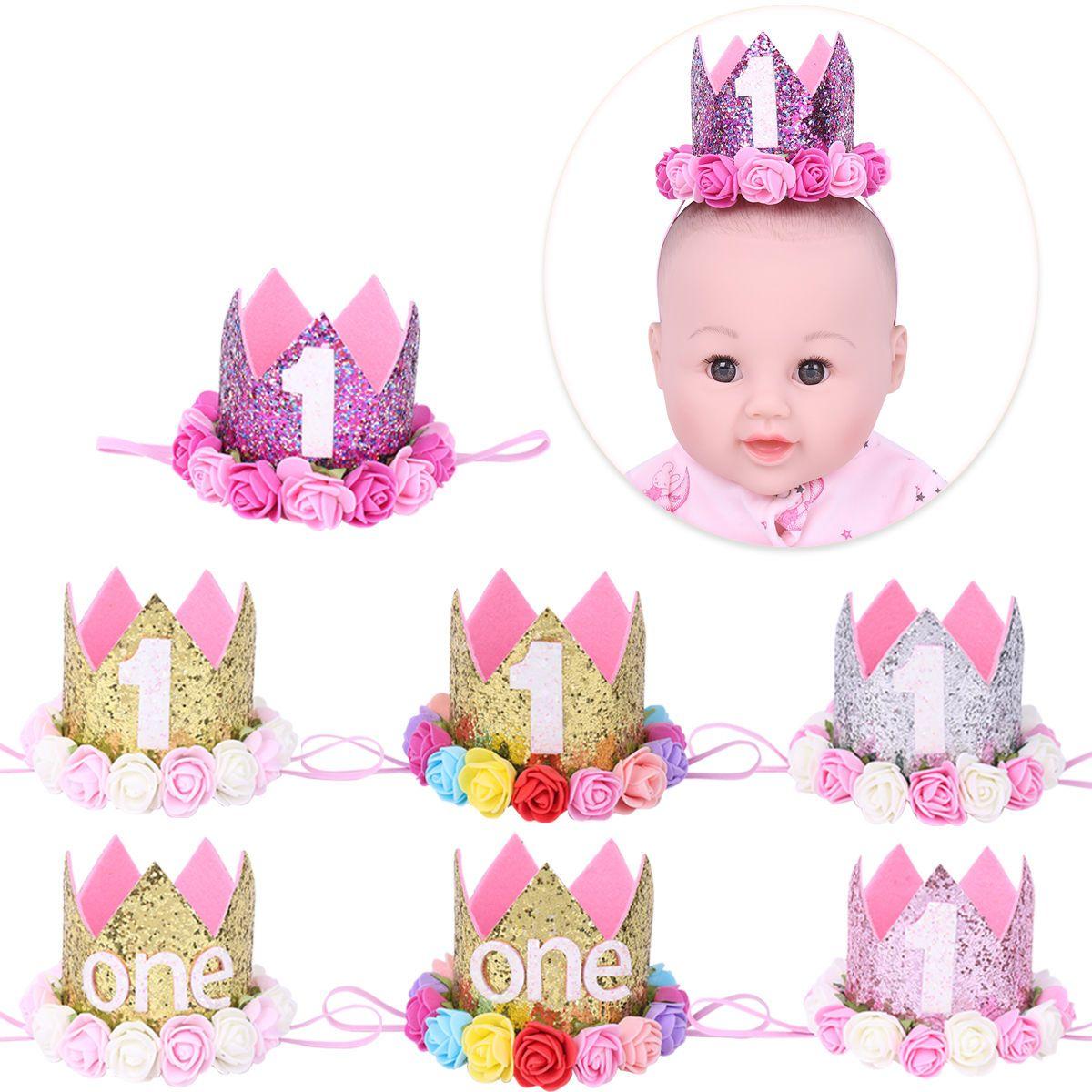 b5657e706ba  3.55 - Baby Girl 1St Birthday Sparkly Party Crown Princess Rose Flowers  Tiara Headband  ebay  Fashion