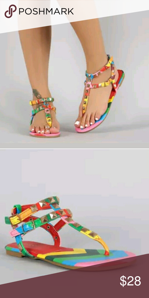 8d870c52e289 Studded Rainbow Sandals DESCRIPTION This rainbow t-strap flat sandal is gladiator  style inspired