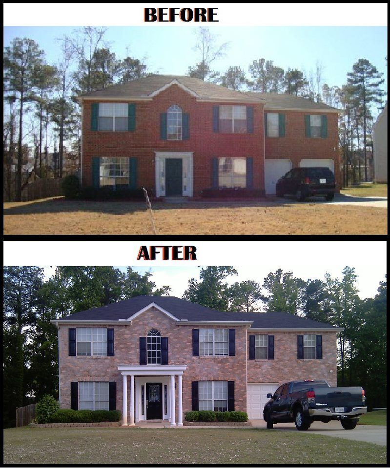 Changed The Color Of My Brick Home W/ Lime Wash & Colored