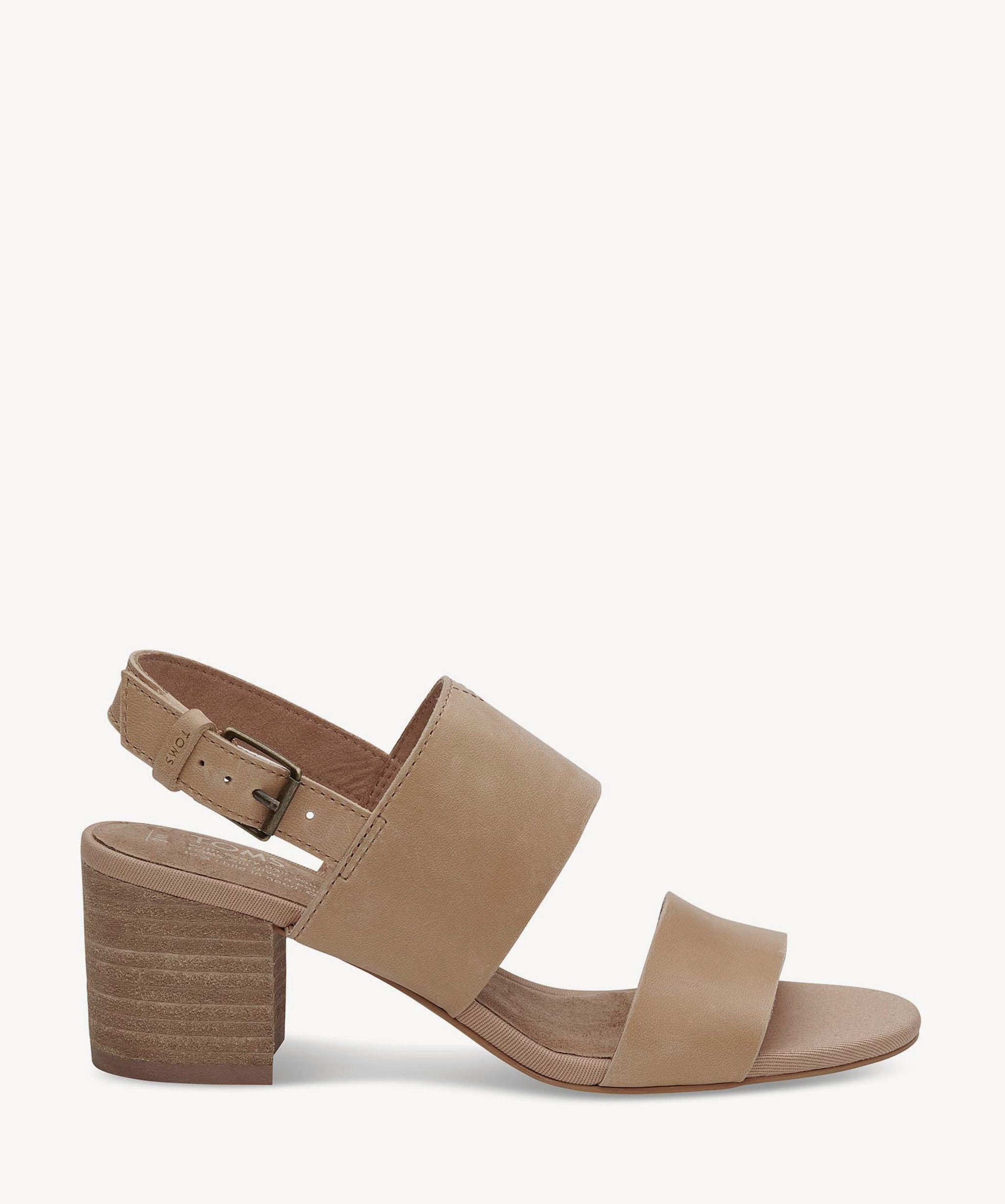 71e04eed0f0 Toms Poppy Block Heels Sandals Honey Leather