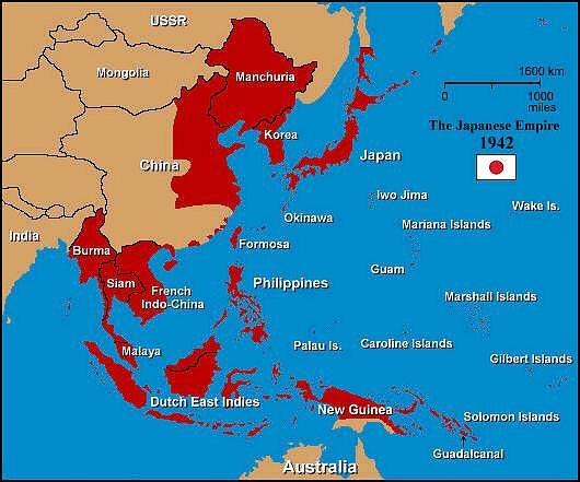 Map Of Asia During Ww2.南太平洋海戦 Map Of Japanese Empire At It S Peak In 1942 With