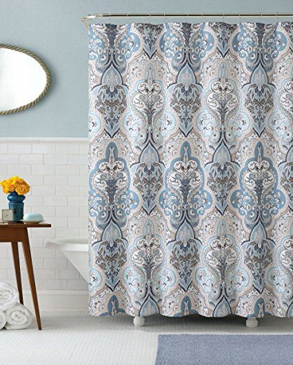Amazon Com Calais Dobby Fabric Shower Curtain Ikat Floral Design Blue Brown White Be Brown Shower Curtain Fabric Shower Curtains Blue White Shower Curtain