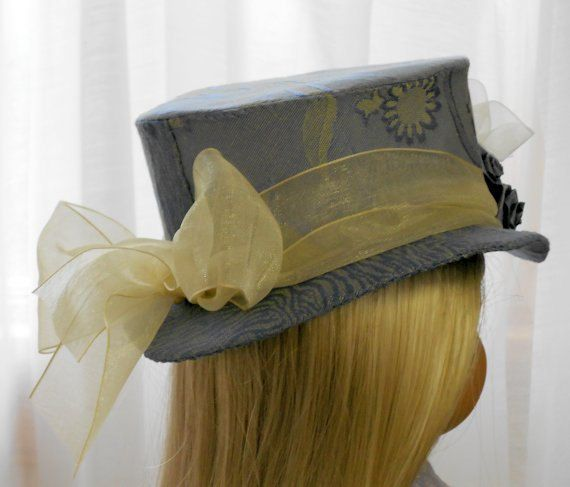 """American Girl Doll Clothes - Doll Hat - Slate Blue Top Hat from the """"Mad Hatterie"""""""