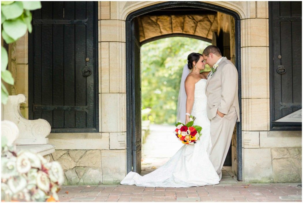 wedding picture locations akron ohio%0A Stan Hywet Hall and Gardens Fall Wedding   Bride and Groom standing in Arch  Way in    Arch WaysAkron OhioEnglish