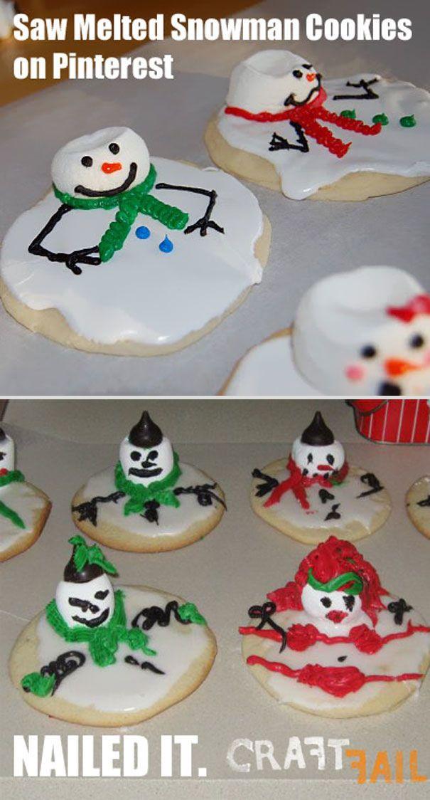 Melted Snowman Cookies Funny Fail Pinterest Fails Cooking Fails