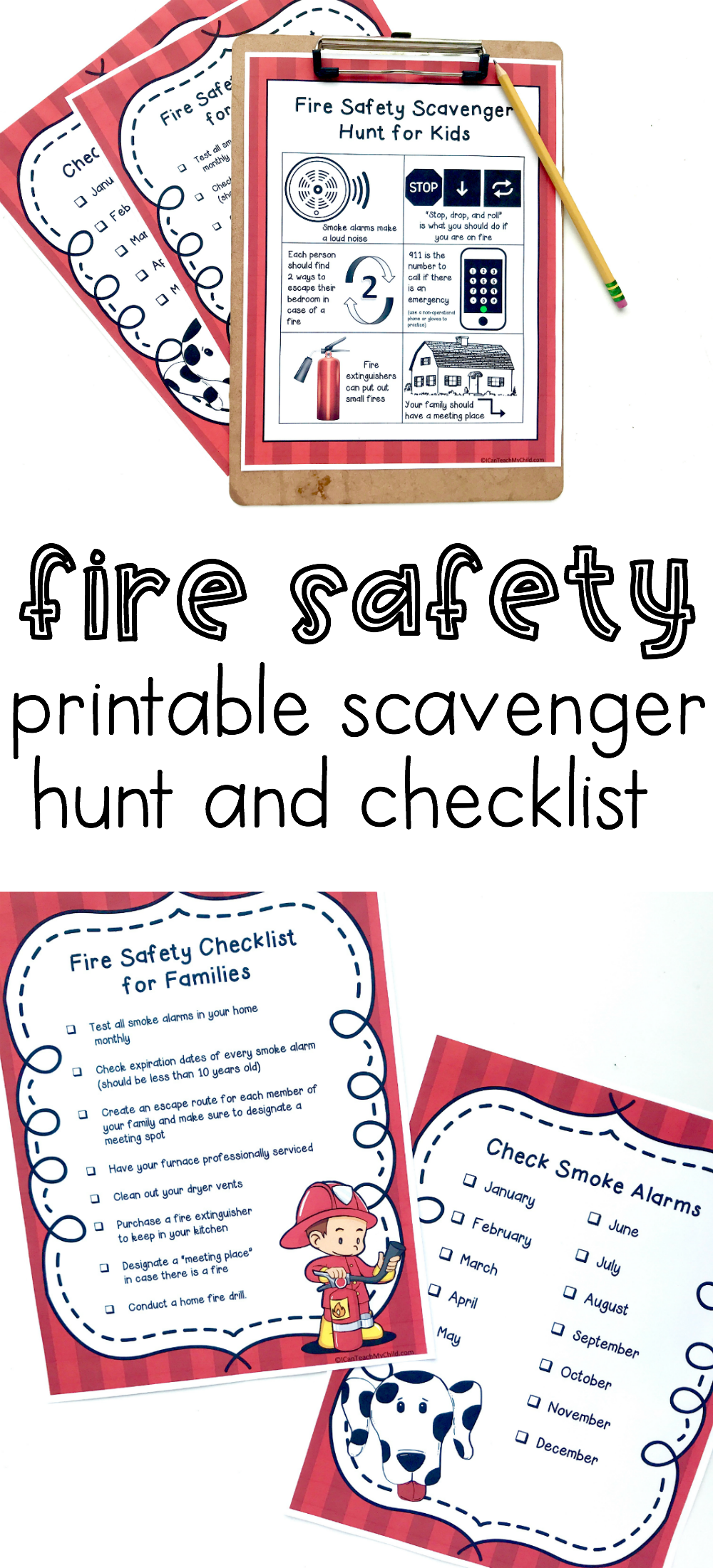 Fire Safety Checklist And Scavenger Hunt I Can Teach My Child Fire Safety Preschool Fire Prevention Week Fire Safety For Kids [ 2200 x 1000 Pixel ]