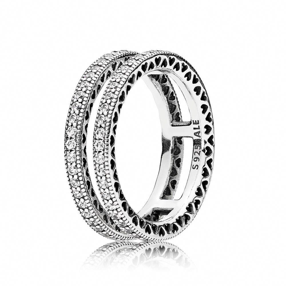 6e87d7ce1 Double Hearts of PANDORA Ring, Clear CZ - 196236CZ #pandorarings ...