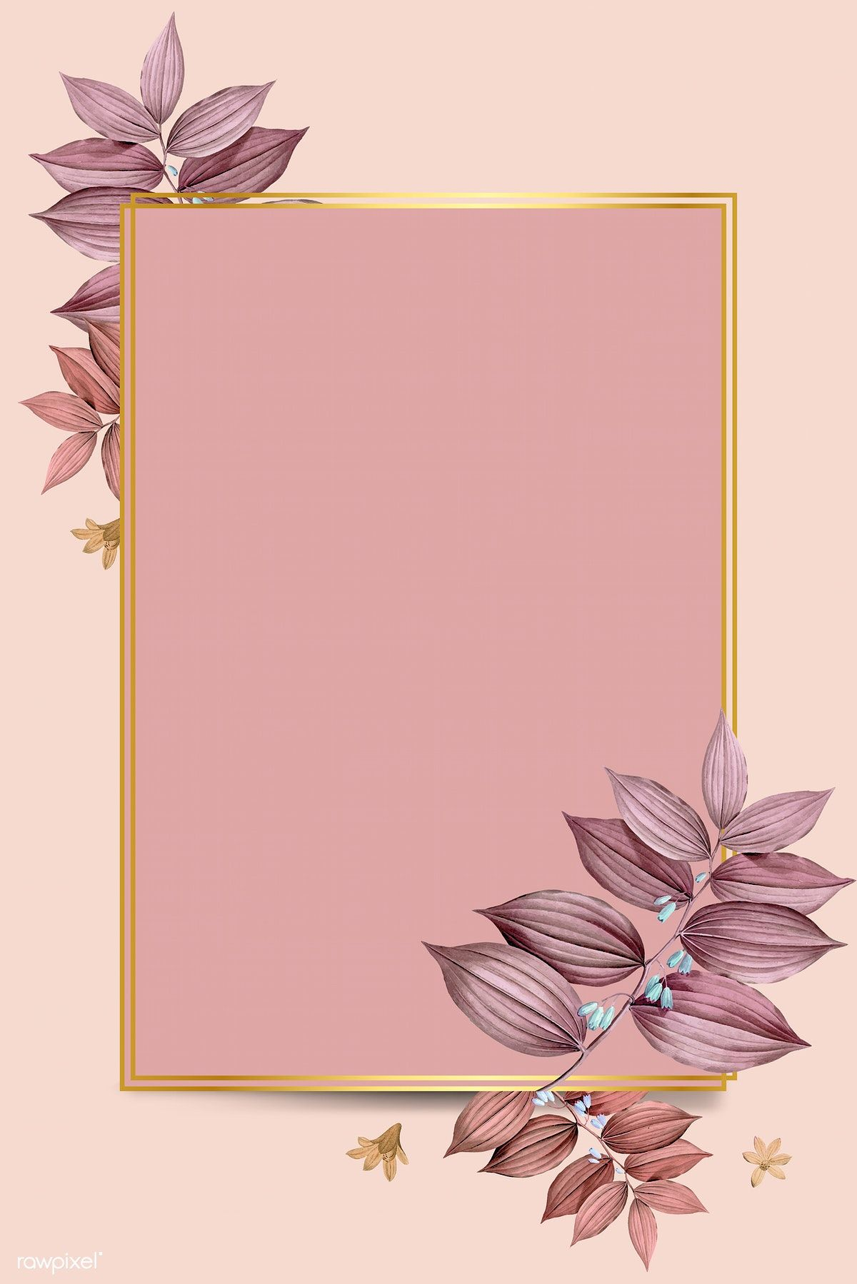 Download Premium Vector Of Rectangle Foliage Frame On Peach Background Peach Background Flower Background Wallpaper Vector Background Pattern