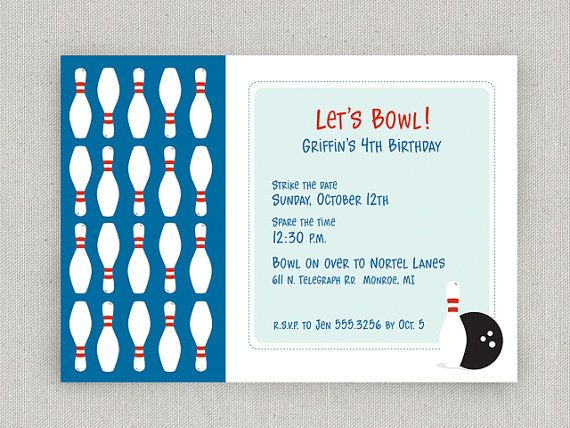 Bowling Party Invitation by twopoochpaperie on Etsy, $18.00