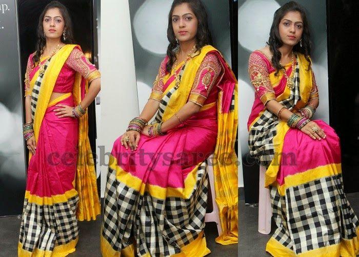e291fe91868863 Checks Saree Muggulu Work Blouse | Bridal Silk Sarees | Saree, Saree ...