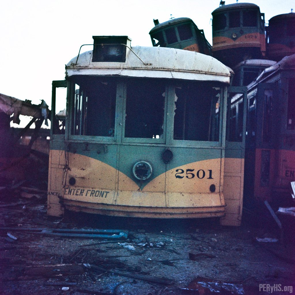 Yellow Streetcar From The Los Angeles Railway