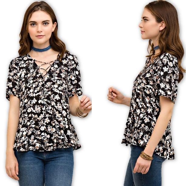 """""""Any Ol' Barstool"""" Top - Floral print a-line blouse featuring a lace up v-neck, and short flutter sleeves. 100% Rayon. - $35.00"""