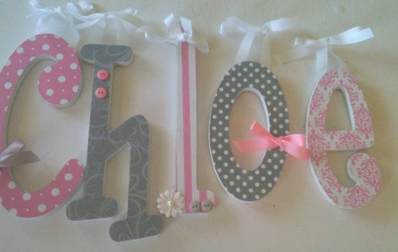 pink and grey nursery girls baby girl wooden letters for nursery pink and gray avail in any size my goddaughters name is chloe