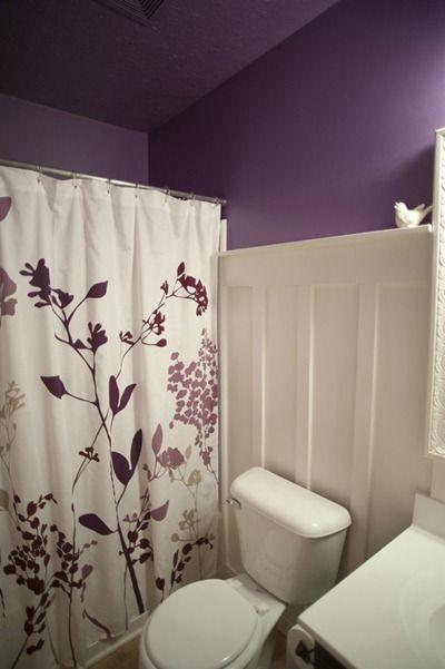Purple Board Batten Bathroom Purple Bathrooms White Paneling