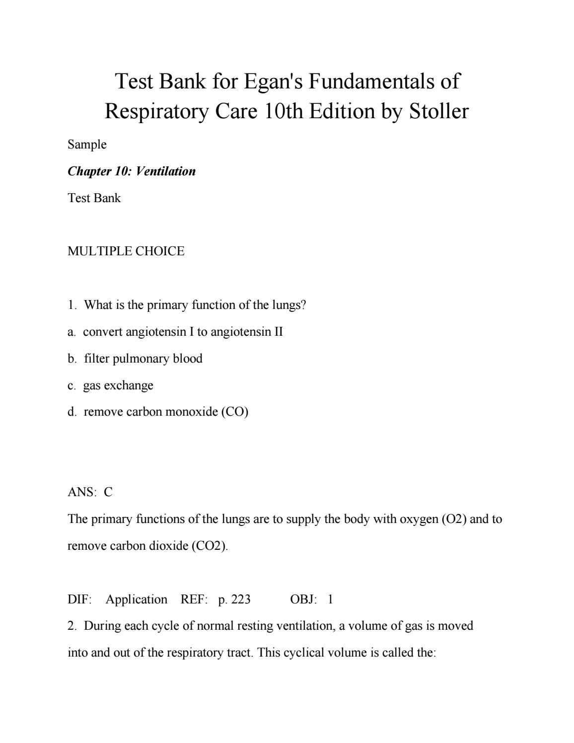 Test bank for egans fundamentals of respiratory care 10th edition by ...
