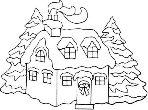 North Pole Snowy Christmas Houses To Color Christmas Coloring
