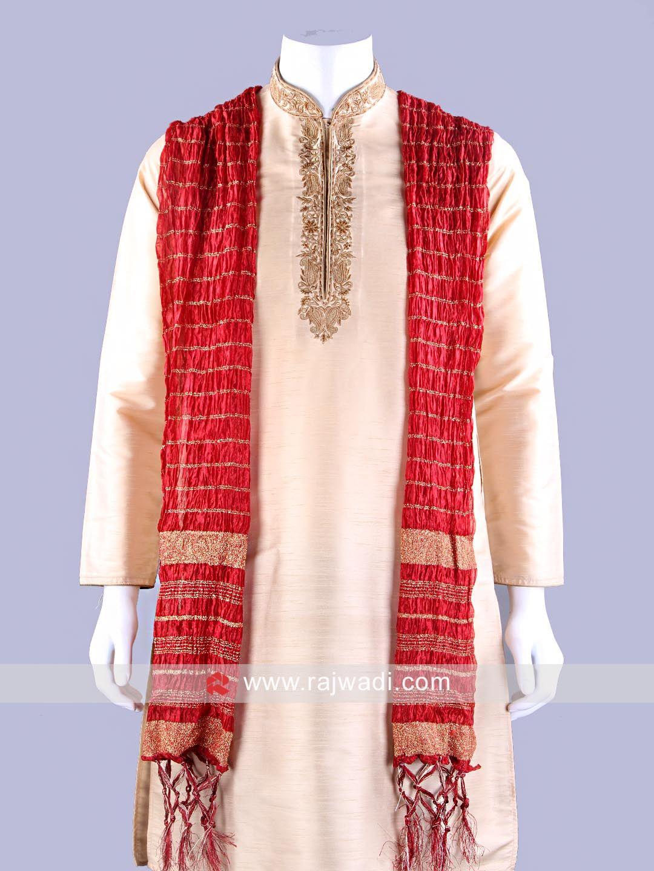 Red zari embellished dupatta rajwadi menaccessories mensfashion