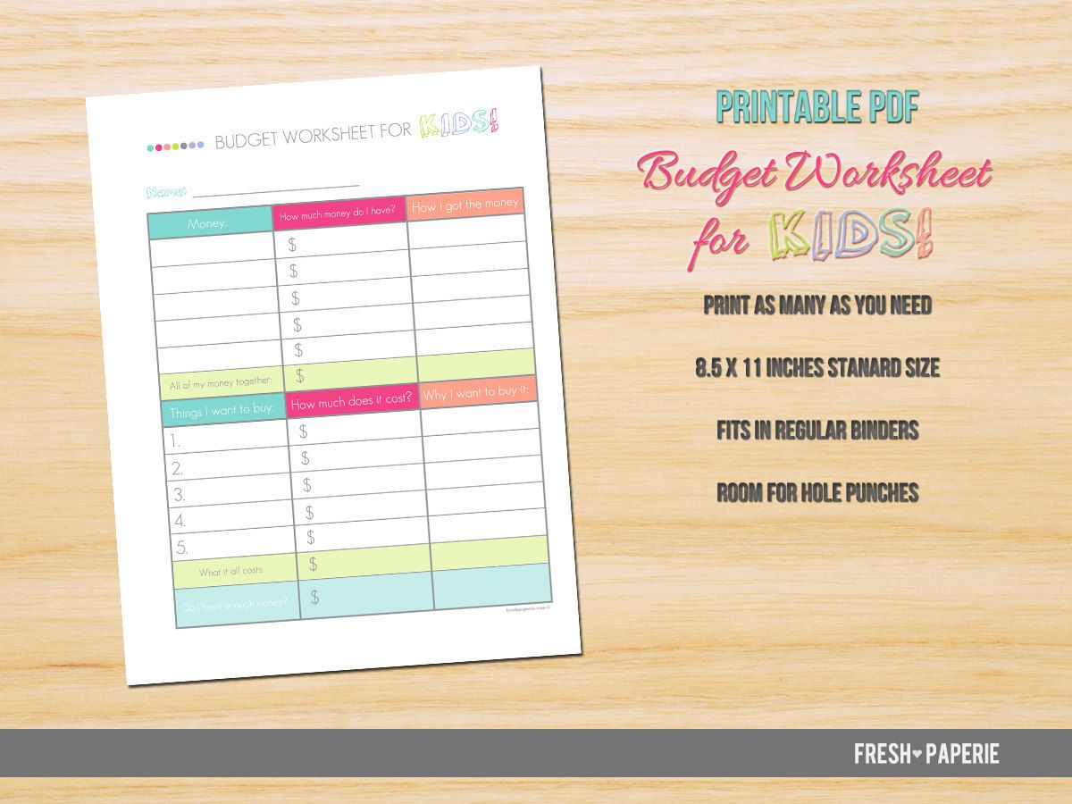 Kids Budget Worksheet