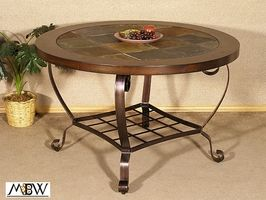 Slate Top Dining Table 48in Round Mahogany Slate Tile Top Dining