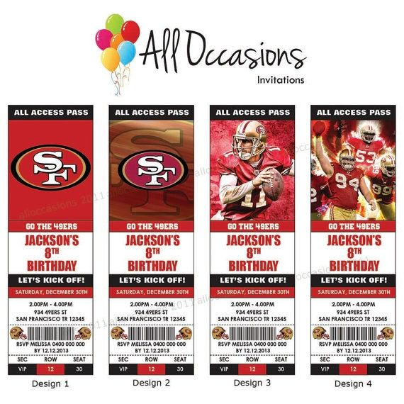 49ers birthday invitations printable San Francisco 49ers - printable ticket invitations